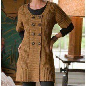 Soft Surroundings City Sweater Pea Coat Button Short Sleeve Cardigan Size Medium
